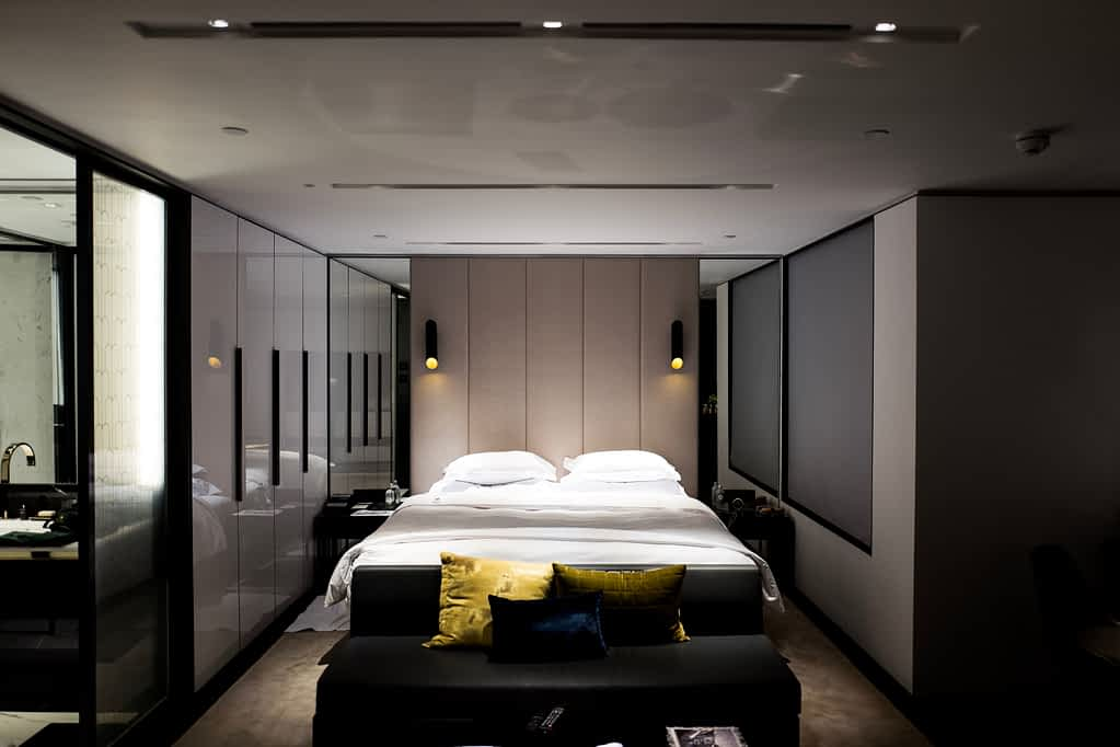 A bedroom with a large bed