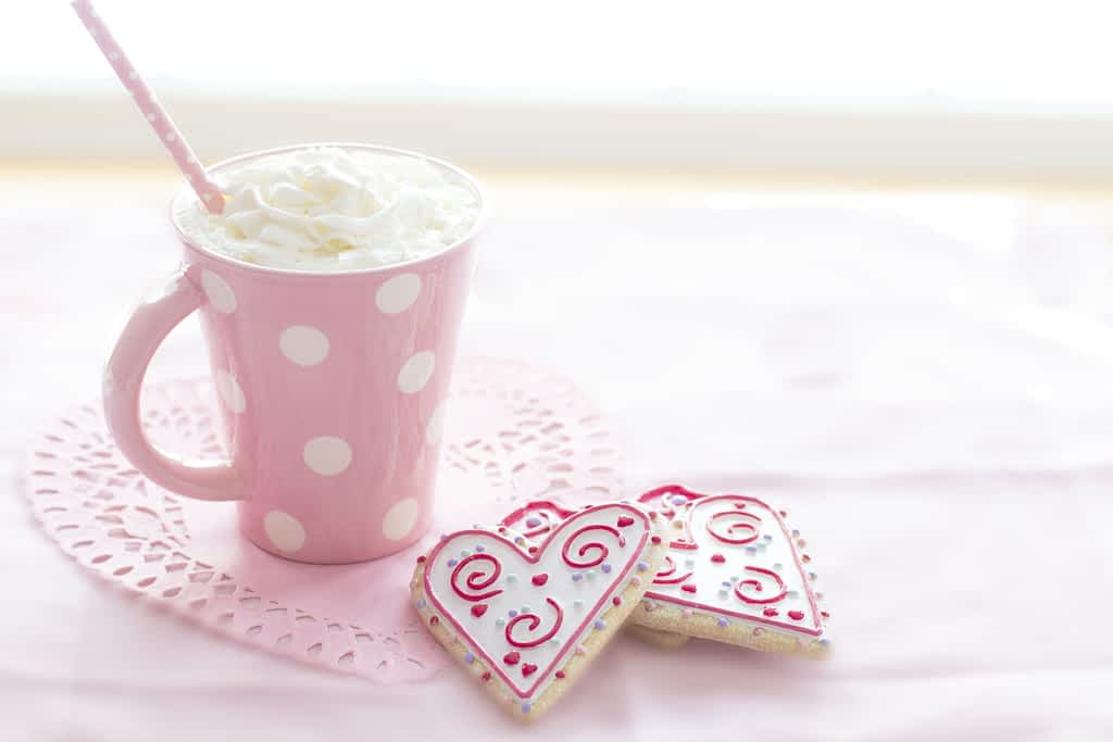 Cup of hot chocolate with two Valentine's Day cookies
