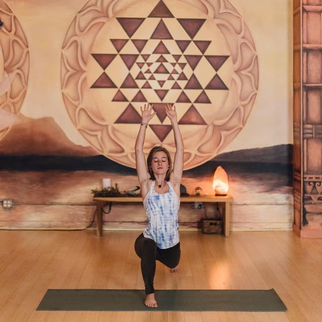 Sierra Noland in forward lunge yoga pose
