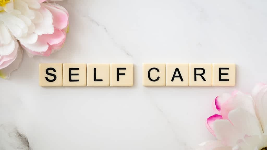 The words self-care from Scrabble
