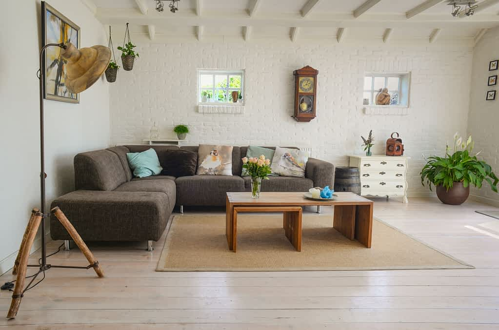 Tidying up your house as part of your daily healthy habits and a clean room with a nice couch and coffee tables