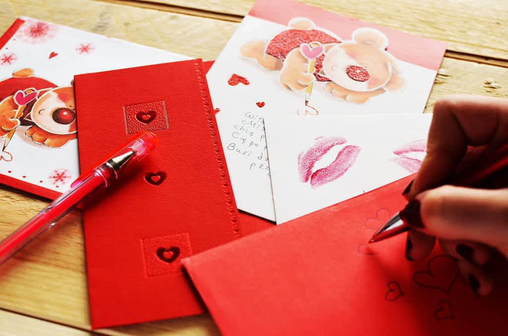 Several Valentine's Day cards on a table