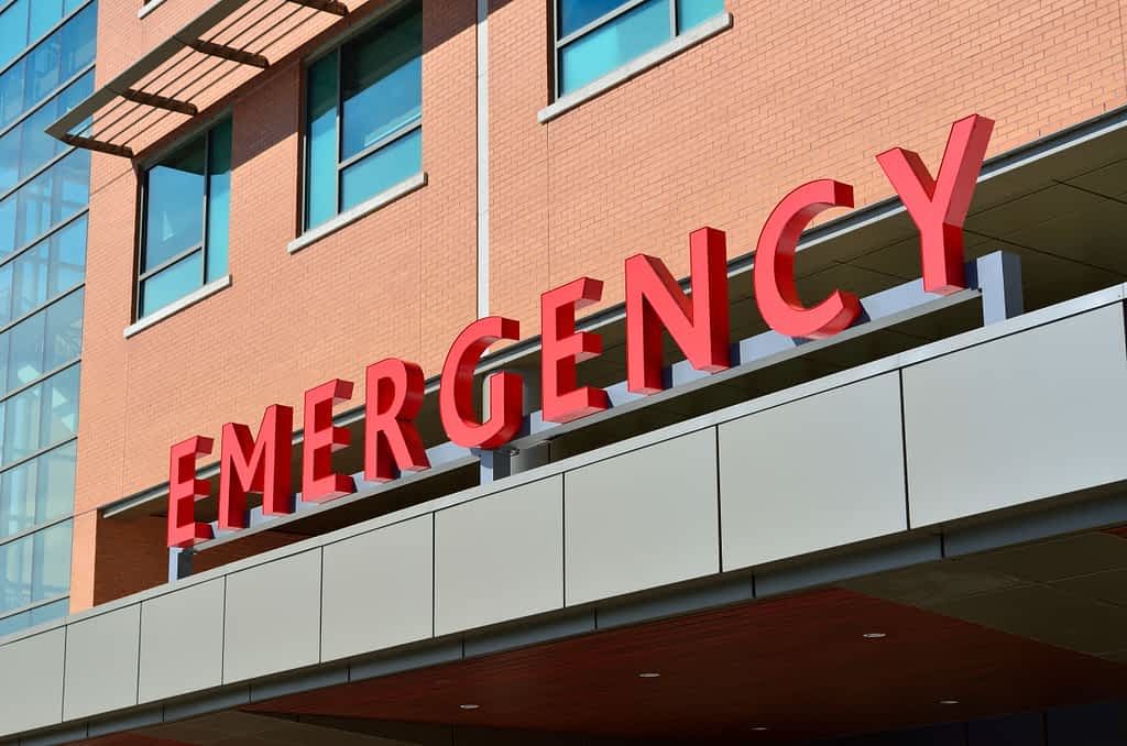 The front entrance of an emergency room at a hospital