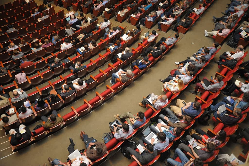 Auditorium filled with people