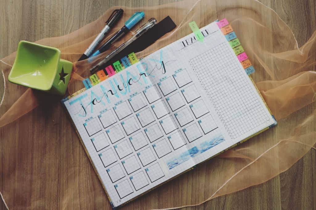 A colorful monthly planner