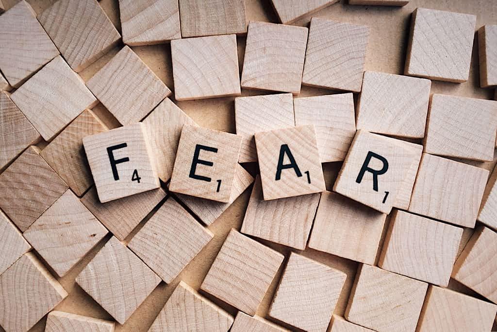 The word fear from scrabble blocks