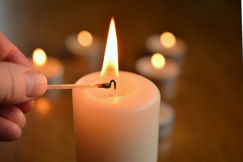 A candle being lit