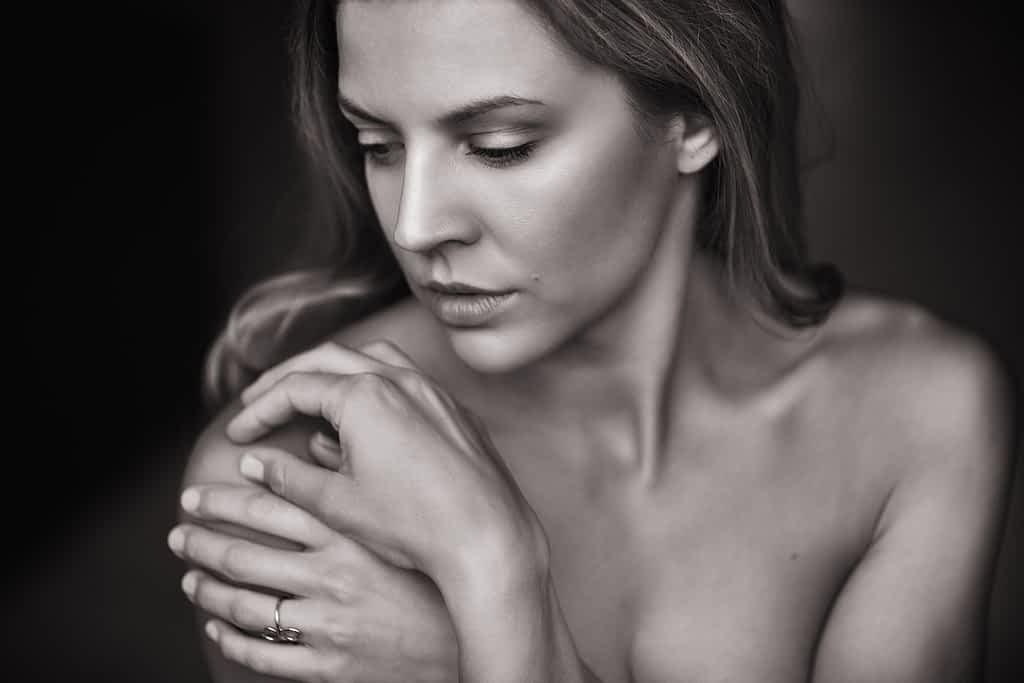 Woman looking over her shoulder