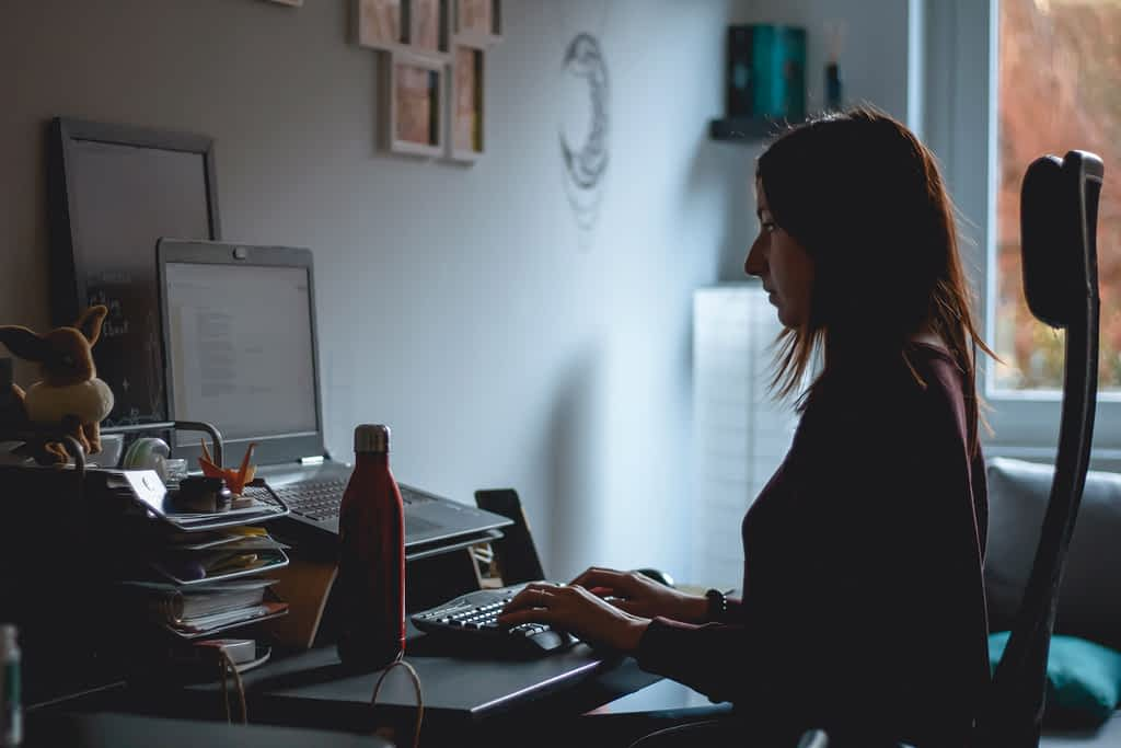 A woman working remotely during the coronavirus lockdown