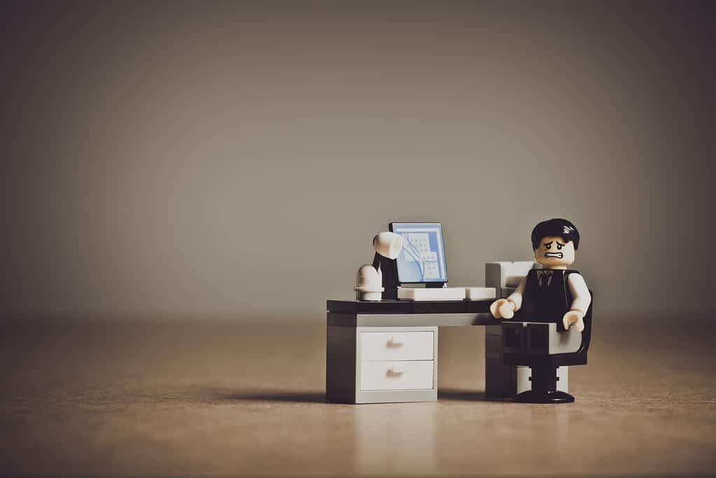 A stress lego man who needs a mental health day