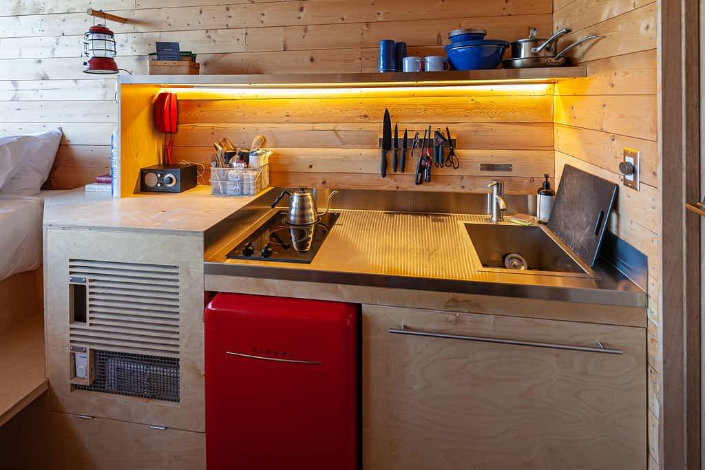 Getaway House Big Bear interior of cabin kitchenette
