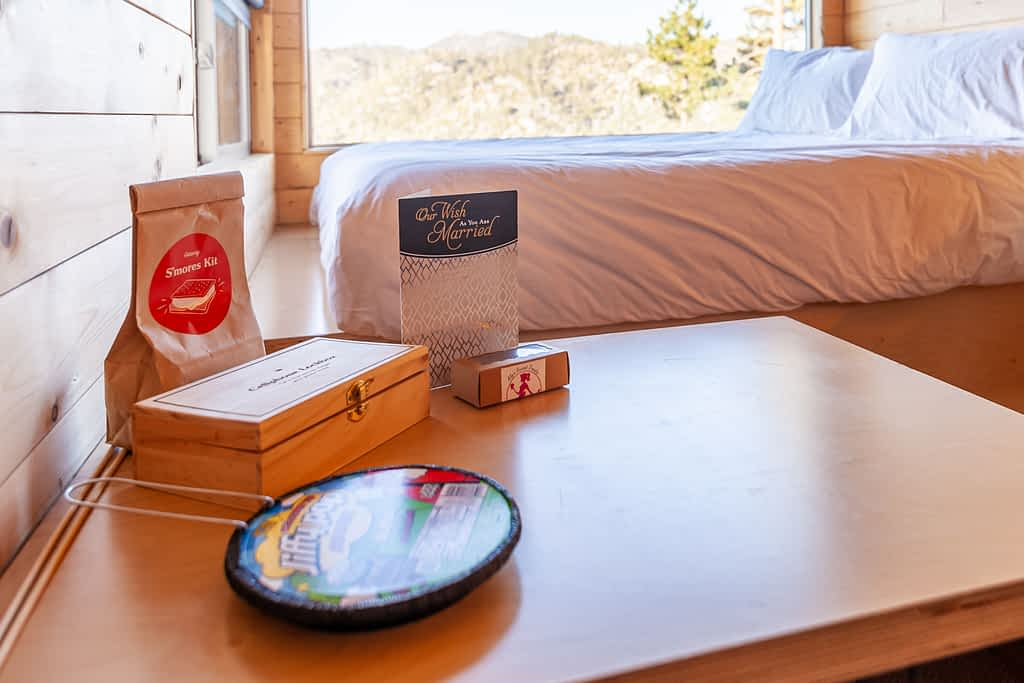 Getaway House Big Bear interior of table with treats and lockbox