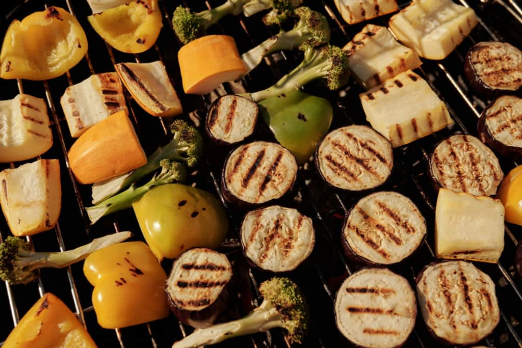 Vegetables on a bbq grill