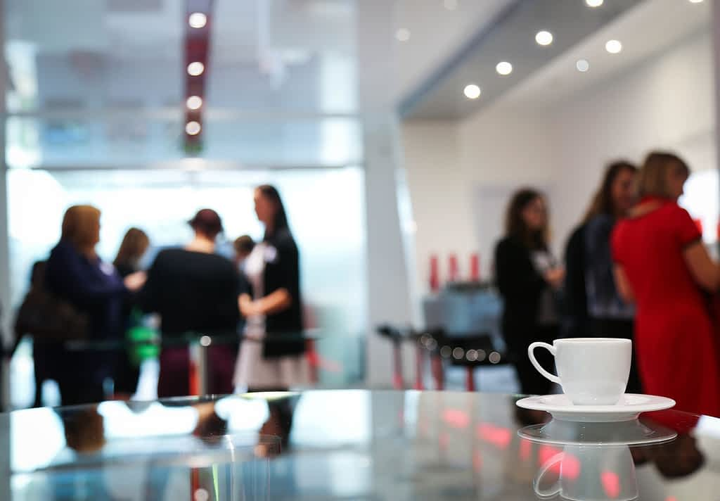 People engaging during coffee break