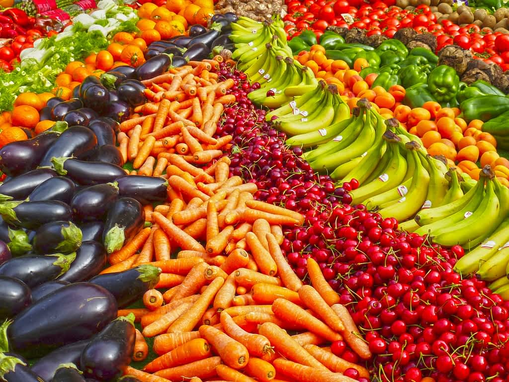 Abundance of produce like bananas, carrots, eggplant, cherries and more