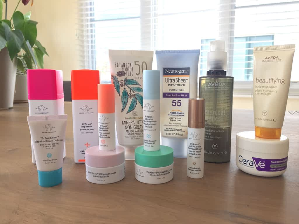 Various bottles of skincare products