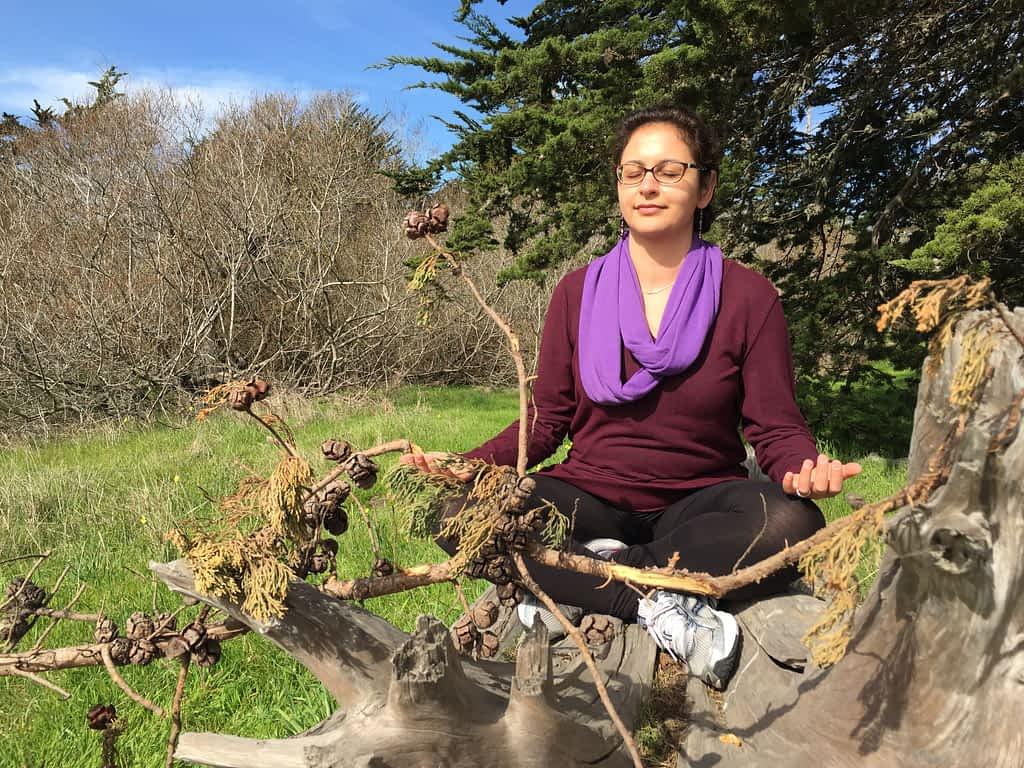 Pantea Rahimian practicing meditation