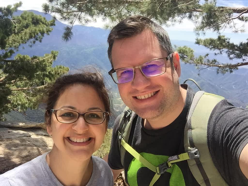 Getaway House Big Bear Pantea Rahimian and her husband hiking at Kellers Peak