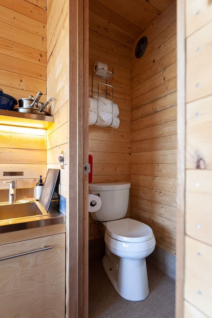 Interior of toilet for Getaway House cabins