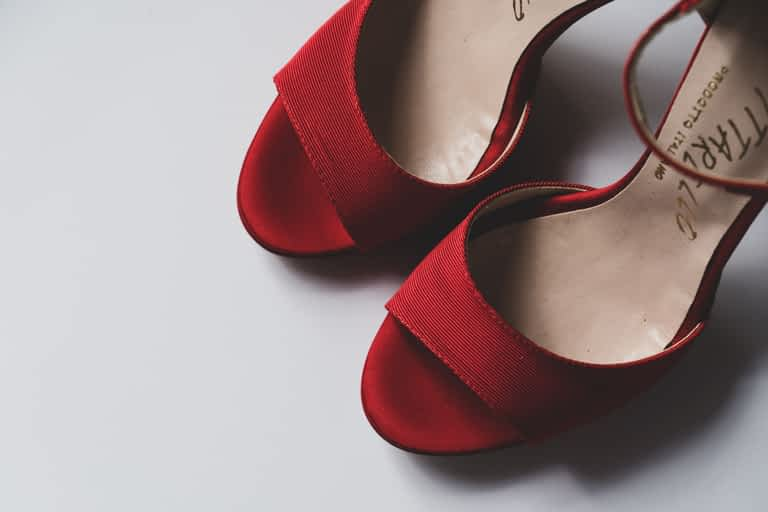 A pair of red high heel shoes