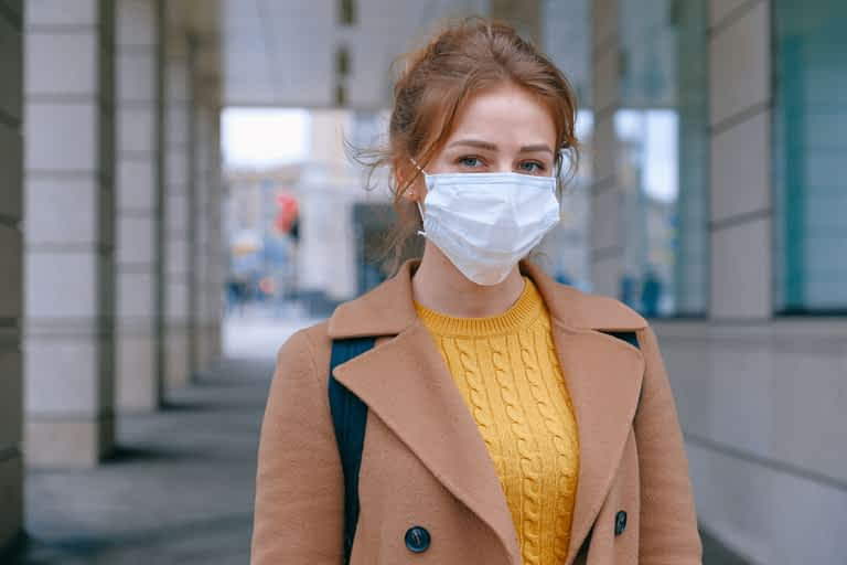 Woman wearing a face mask to prevent coronavirus, COVID-19